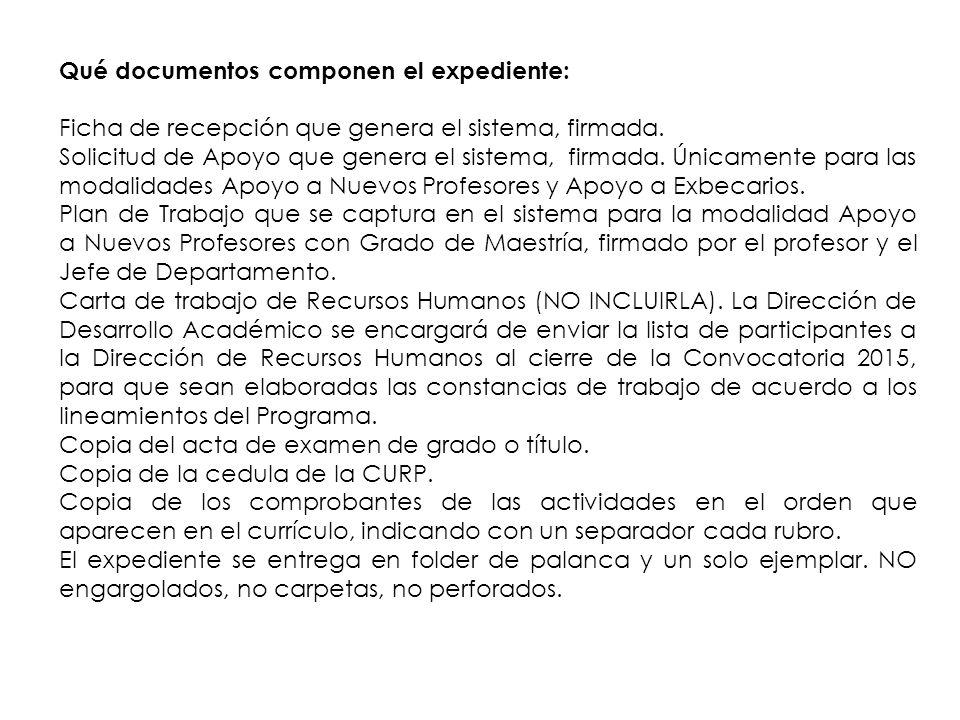 Qué documentos componen el expediente: Ficha de recepción que genera el sistema, firmada.
