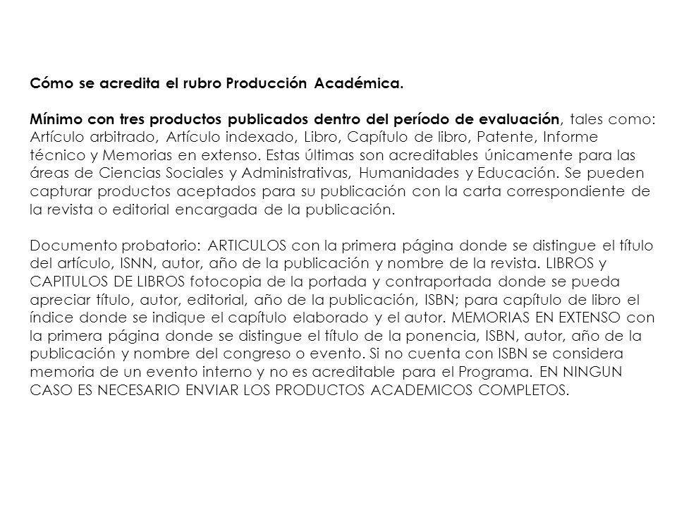 Cómo se acredita el rubro Producción Académica.