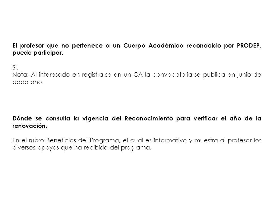 El profesor que no pertenece a un Cuerpo Académico reconocido por PRODEP, puede participar.