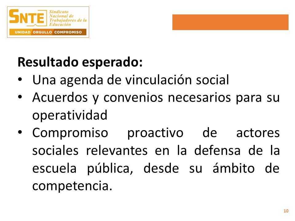 Resultado esperado: Una agenda de vinculación social Acuerdos y convenios necesarios para su operatividad Compromiso proactivo de actores sociales relevantes en la defensa de la escuela pública, desde su ámbito de competencia.