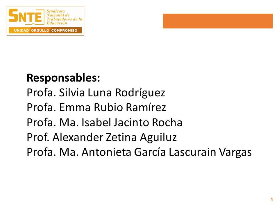 Responsables: Profa. Silvia Luna Rodríguez Profa.