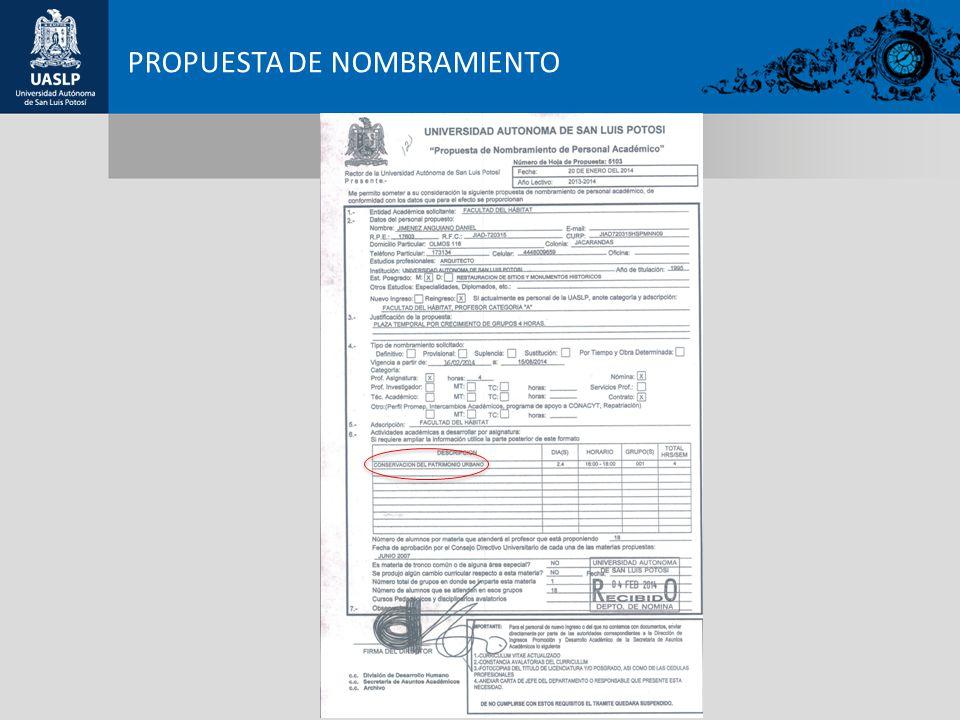 PROPUESTA DE NOMBRAMIENTO