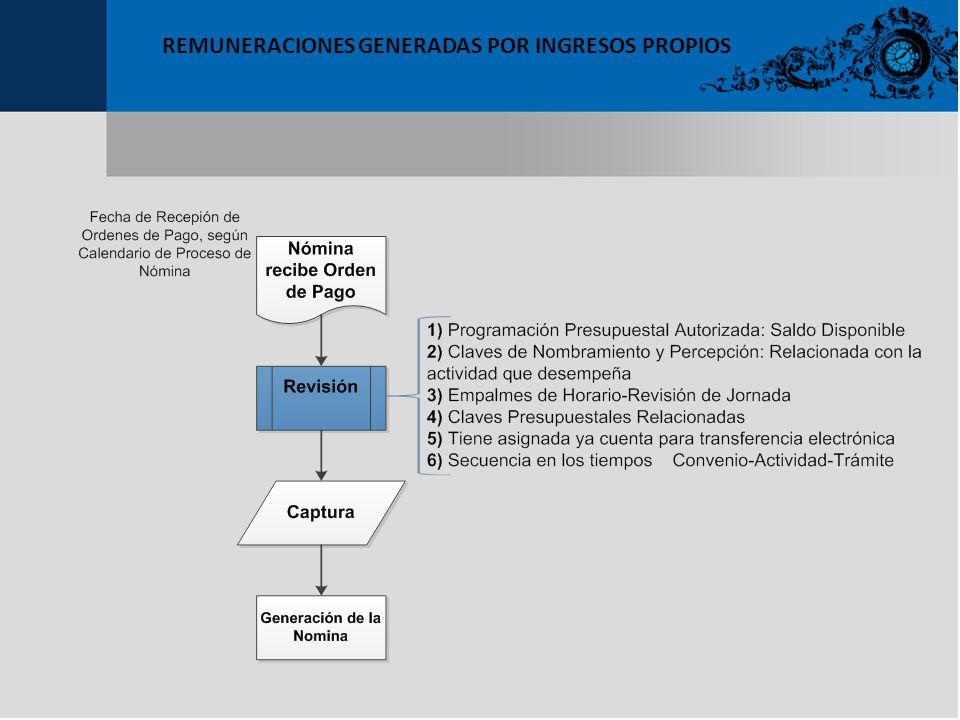 REMUNERACIONES GENERADAS POR INGRESOS PROPIOS