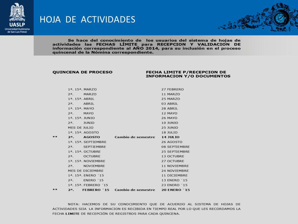 HOJA DE ACTIVIDADES