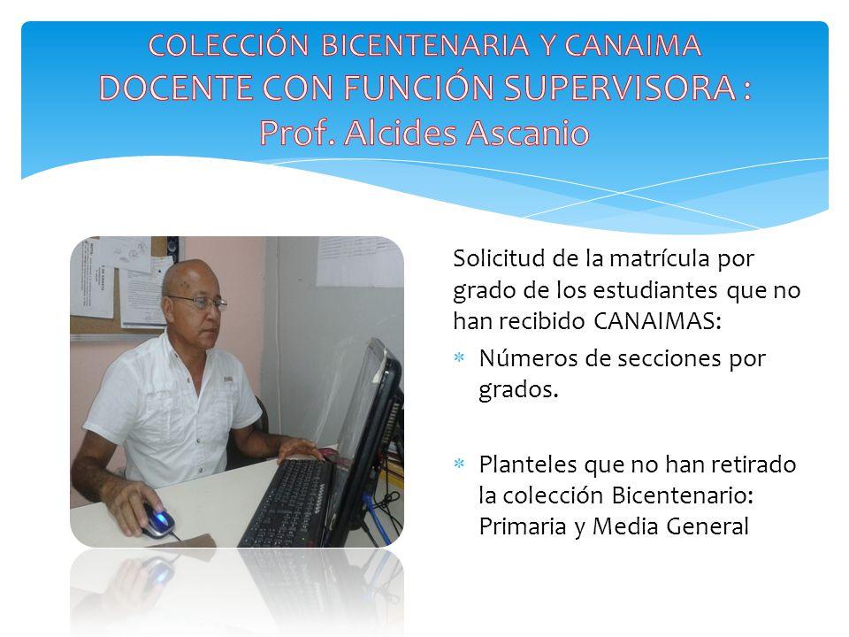 Solicitud de la matrícula por grado de los estudiantes que no han recibido CANAIMAS:  Números de secciones por grados.