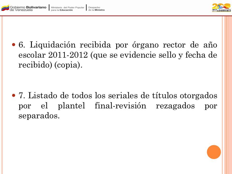 5. Consulta de liquidación