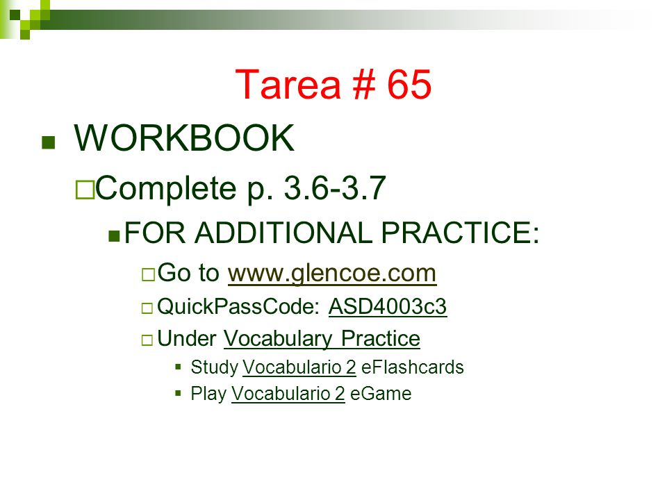 Tarea # 65 WORKBOOK  Complete p.