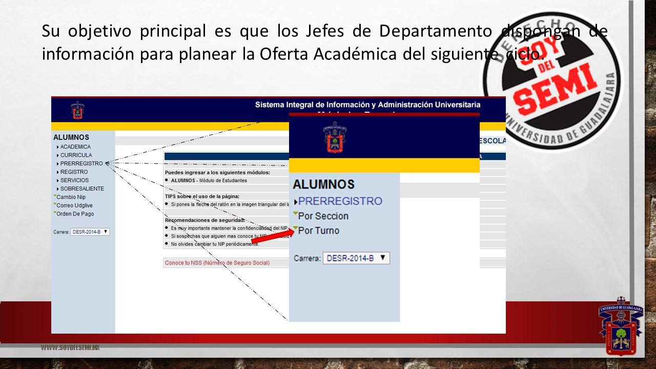 WWW.SOYDELSEMI.MX Su objetivo principal es que los Jefes de Departamento dispongan de información para planear la Oferta Académica del siguiente ciclo.