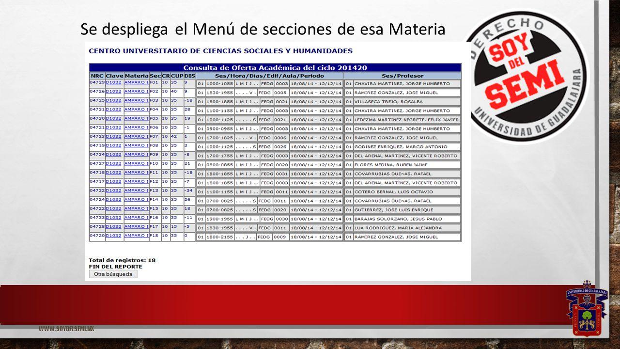 WWW.SOYDELSEMI.MX Se despliega el Menú de secciones de esa Materia