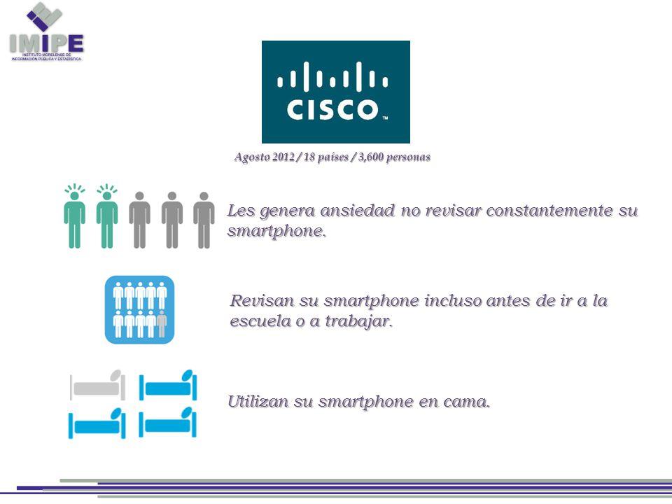 Agosto 2012 / 18 países / 3,600 personas Les genera ansiedad no revisar constantemente su smartphone.