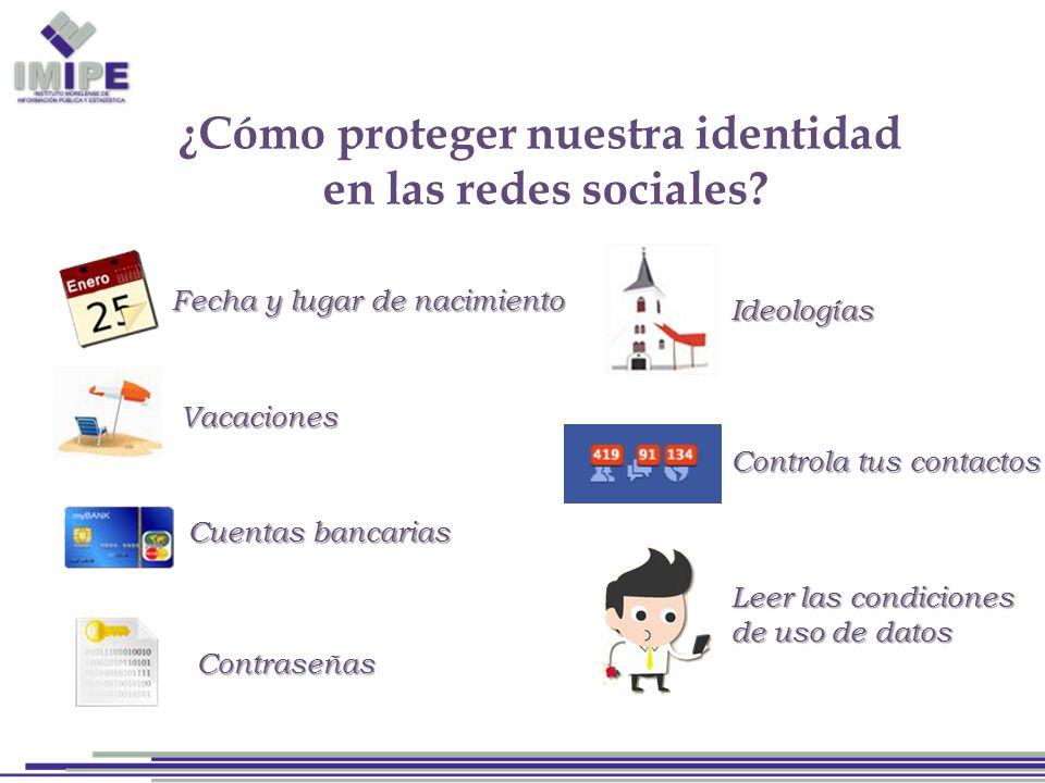 Fecha y lugar de nacimiento Vacaciones Cuentas bancarias Contraseñas Ideologías Controla tus contactos Leer las condiciones de uso de datos