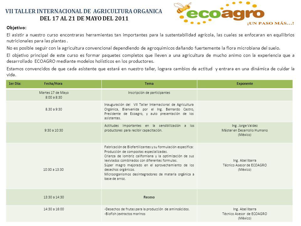 VII TALLER INTERNACIONAL DE AGRICULTURA ORGANICA DEL 17 AL 21 DE MAYO DEL 2011 Objetivo: El asistir a nuestro curso encontraras herramientas tan importantes para la sustentabilidad agrícola, las cuales se enfocaran en equilibrios nutricionales para las plantas.
