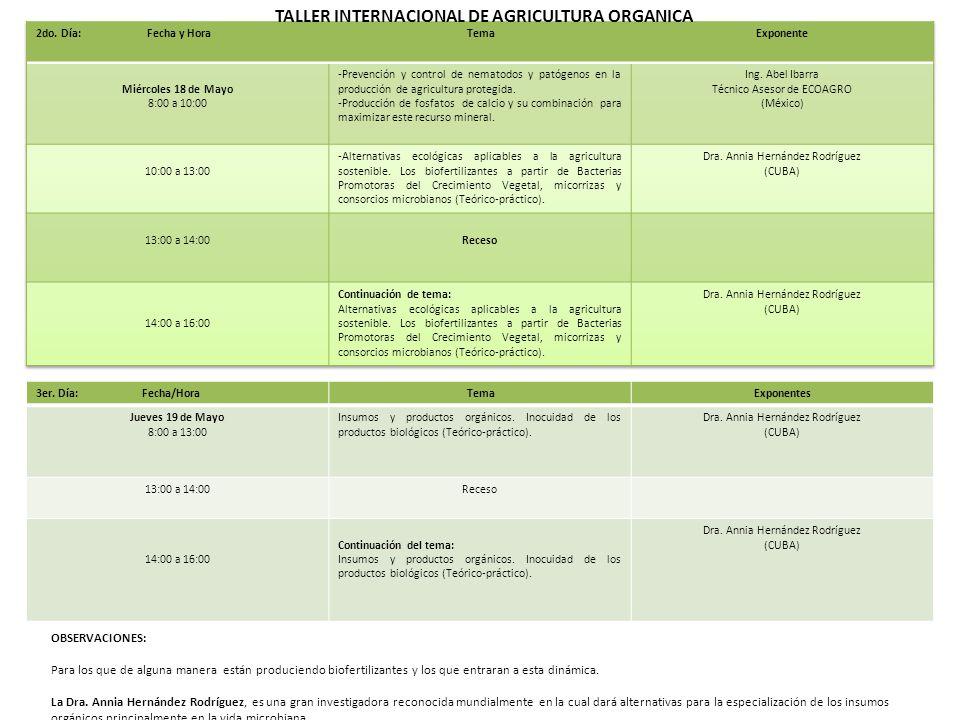 TALLER INTERNACIONAL DE AGRICULTURA ORGANICA 3er.