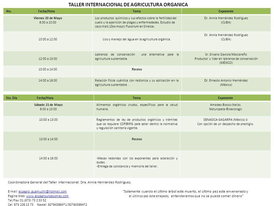 TALLER INTERNACIONAL DE AGRICULTURA ORGANICA 5to.