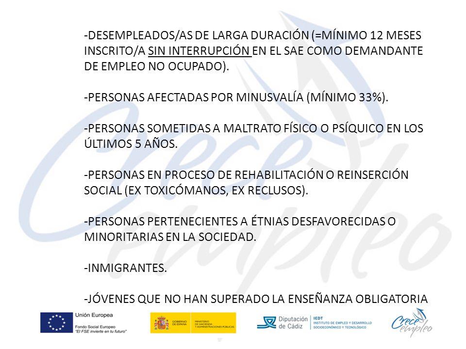 -DESEMPLEADOS/AS DE LARGA DURACIÓN (=MÍNIMO 12 MESES INSCRITO/A SIN INTERRUPCIÓN EN EL SAE COMO DEMANDANTE DE EMPLEO NO OCUPADO).
