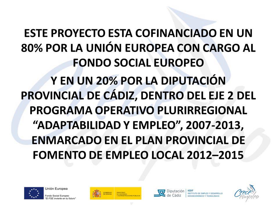 ESTE PROYECTO ESTA COFINANCIADO EN UN 80% POR LA UNIÓN EUROPEA CON CARGO AL FONDO SOCIAL EUROPEO Y EN UN 20% POR LA DIPUTACIÓN PROVINCIAL DE CÁDIZ, DENTRO DEL EJE 2 DEL PROGRAMA OPERATIVO PLURIRREGIONAL ADAPTABILIDAD Y EMPLEO , 2007-2013, ENMARCADO EN EL PLAN PROVINCIAL DE FOMENTO DE EMPLEO LOCAL 2012–2015