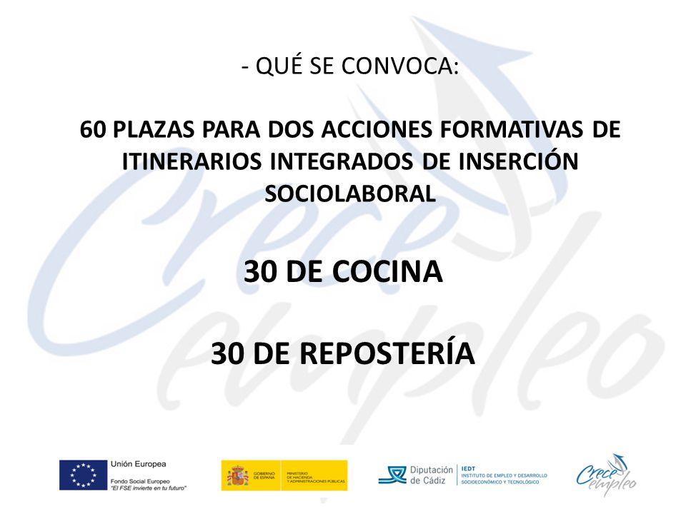 - QUÉ SE CONVOCA: 60 PLAZAS PARA DOS ACCIONES FORMATIVAS DE ITINERARIOS INTEGRADOS DE INSERCIÓN SOCIOLABORAL 30 DE COCINA 30 DE REPOSTERÍA