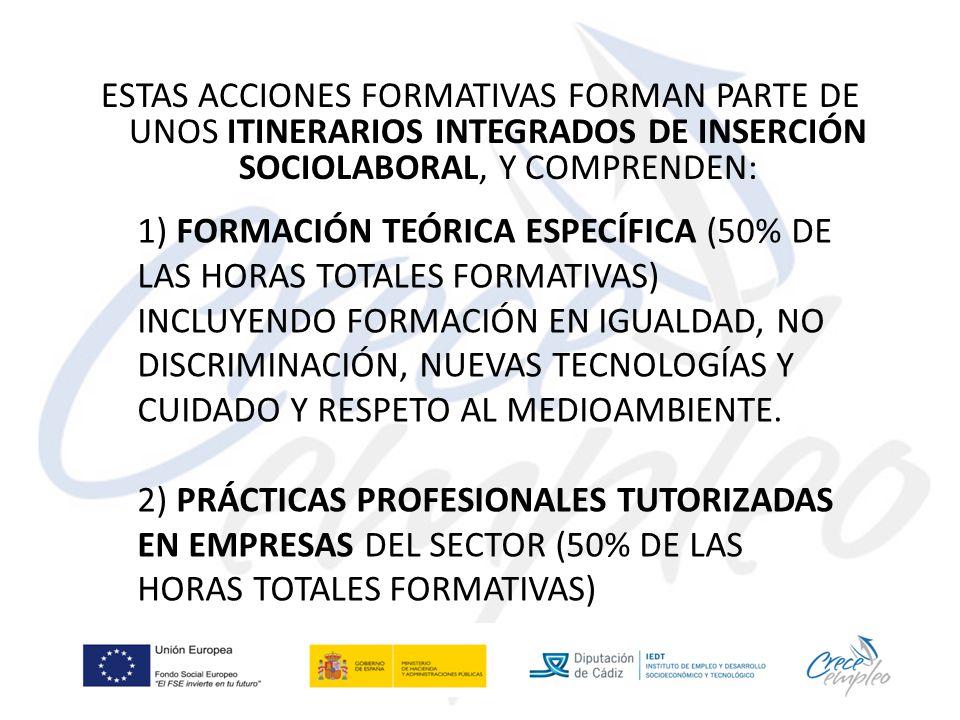 ESTAS ACCIONES FORMATIVAS FORMAN PARTE DE UNOS ITINERARIOS INTEGRADOS DE INSERCIÓN SOCIOLABORAL, Y COMPRENDEN: 1) FORMACIÓN TEÓRICA ESPECÍFICA (50% DE LAS HORAS TOTALES FORMATIVAS) INCLUYENDO FORMACIÓN EN IGUALDAD, NO DISCRIMINACIÓN, NUEVAS TECNOLOGÍAS Y CUIDADO Y RESPETO AL MEDIOAMBIENTE.