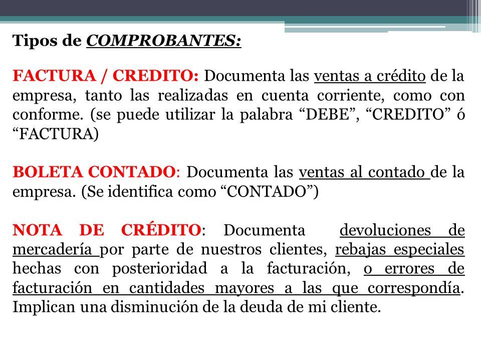 Tipos de COMPROBANTES: FACTURA / CREDITO: Documenta las ventas a crédito de la empresa, tanto las realizadas en cuenta corriente, como con conforme.