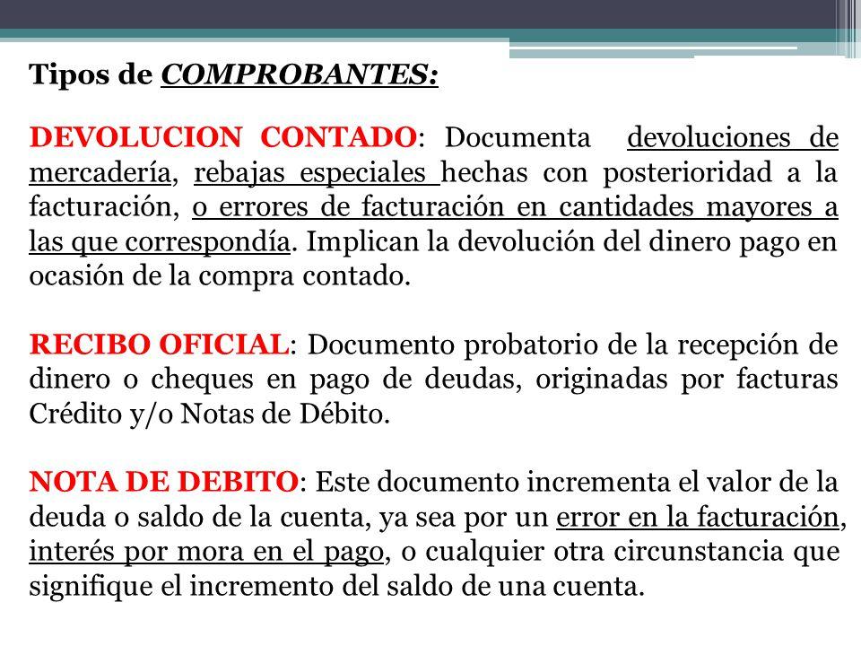 Tipos de COMPROBANTES: DEVOLUCION CONTADO: Documenta devoluciones de mercadería, rebajas especiales hechas con posterioridad a la facturación, o errores de facturación en cantidades mayores a las que correspondía.
