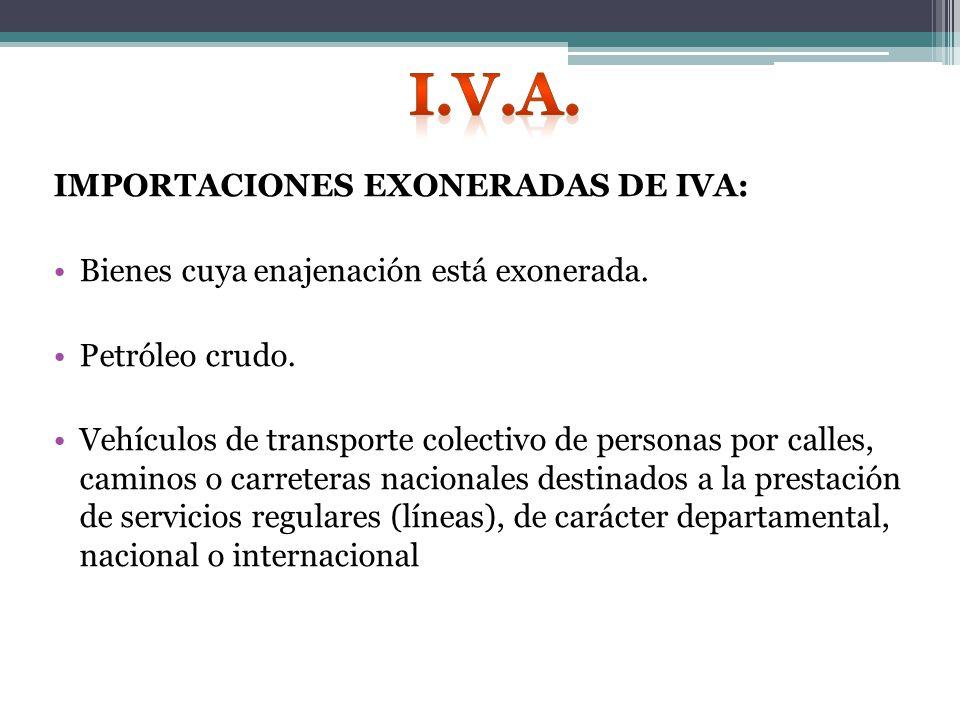 IMPORTACIONES EXONERADAS DE IVA: Bienes cuya enajenación está exonerada.