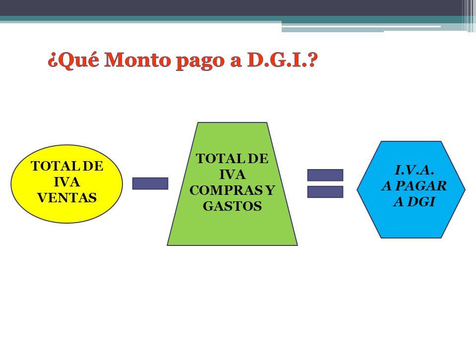 TOTAL DE IVA VENTAS I.V.A. A PAGAR A DGI TOTAL DE IVA COMPRAS Y GASTOS