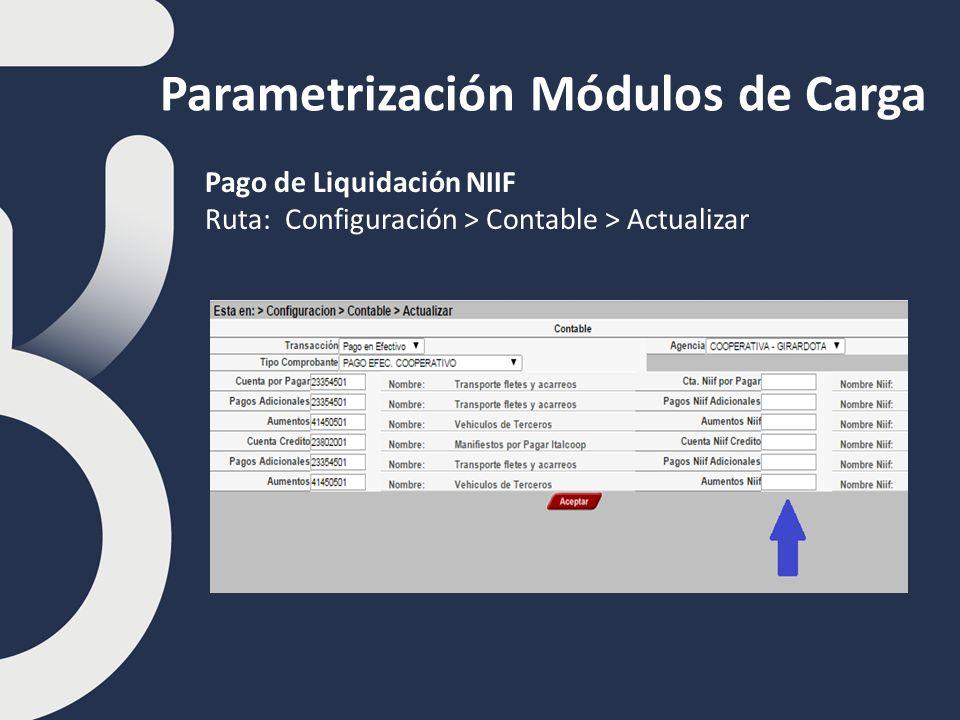Parametrización Módulos de Carga Pago de Liquidación NIIF Ruta: Configuración > Contable > Actualizar