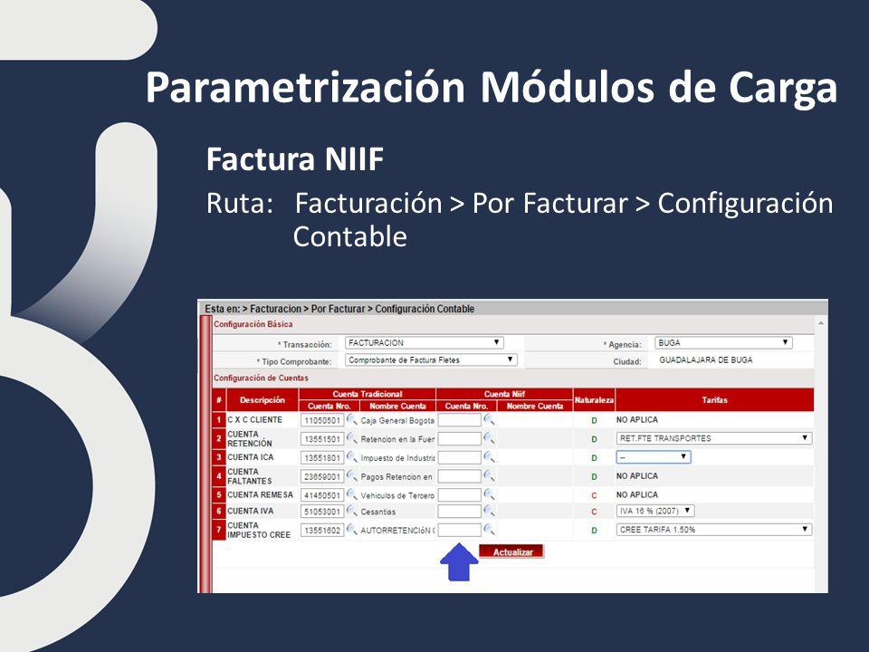 Parametrización Módulos de Carga Factura NIIF Ruta: Facturación > Por Facturar > Configuración Contable