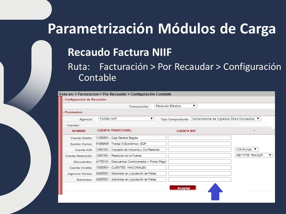Parametrización Módulos de Carga Recaudo Factura NIIF Ruta: Facturación > Por Recaudar > Configuración Contable
