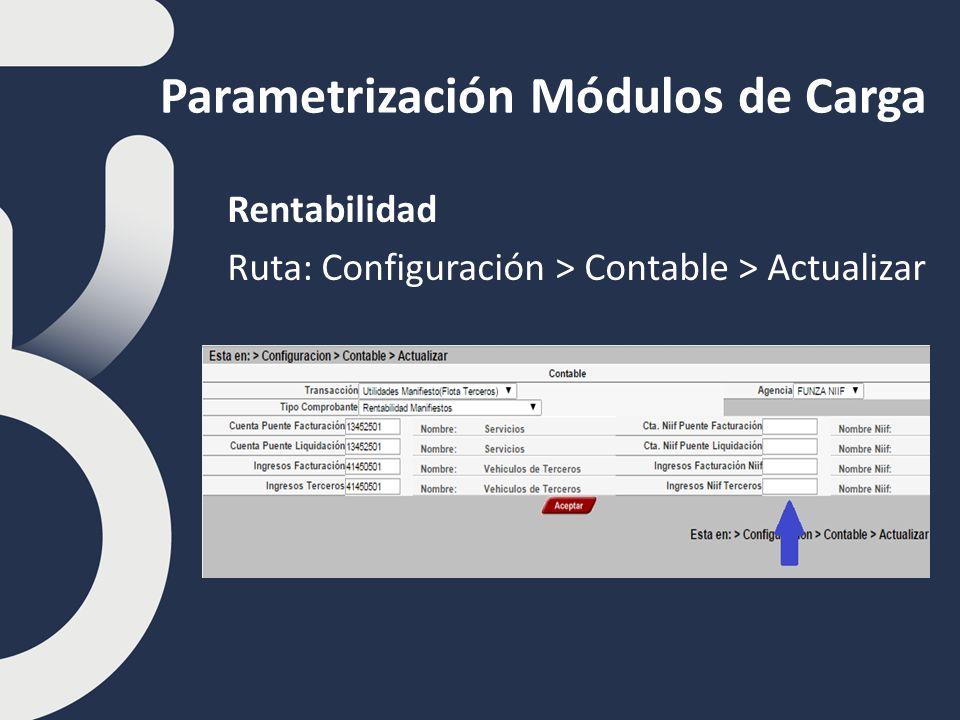 Parametrización Módulos de Carga Rentabilidad Ruta: Configuración > Contable > Actualizar