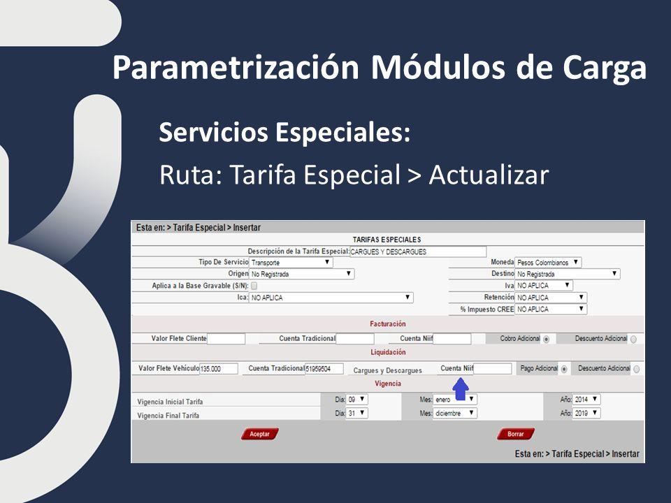 Parametrización Módulos de Carga Servicios Especiales: Ruta: Tarifa Especial > Actualizar