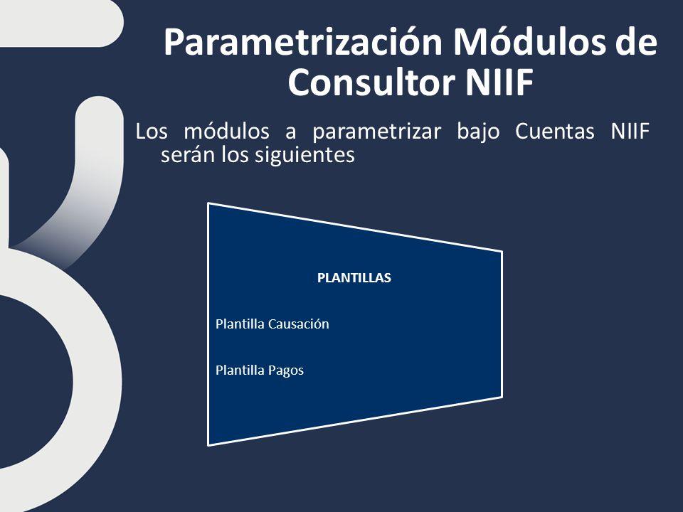 Parametrización Módulos de Consultor NIIF Los módulos a parametrizar bajo Cuentas NIIF serán los siguientes PLANTILLAS Plantilla Causación Plantilla Pagos