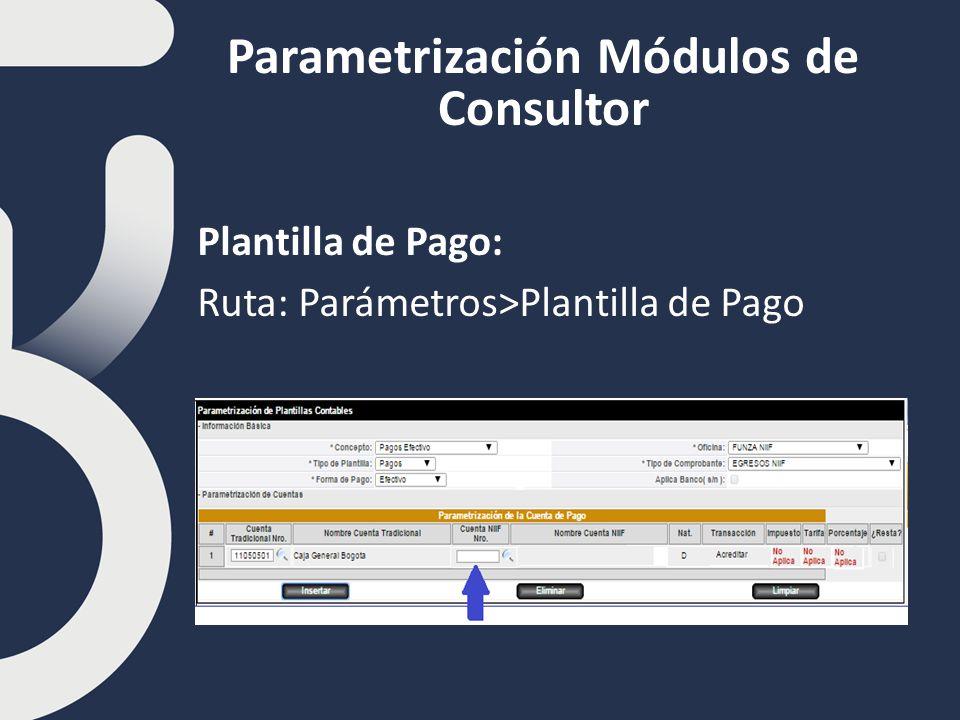 Parametrización Módulos de Consultor Plantilla de Pago: Ruta: Parámetros>Plantilla de Pago