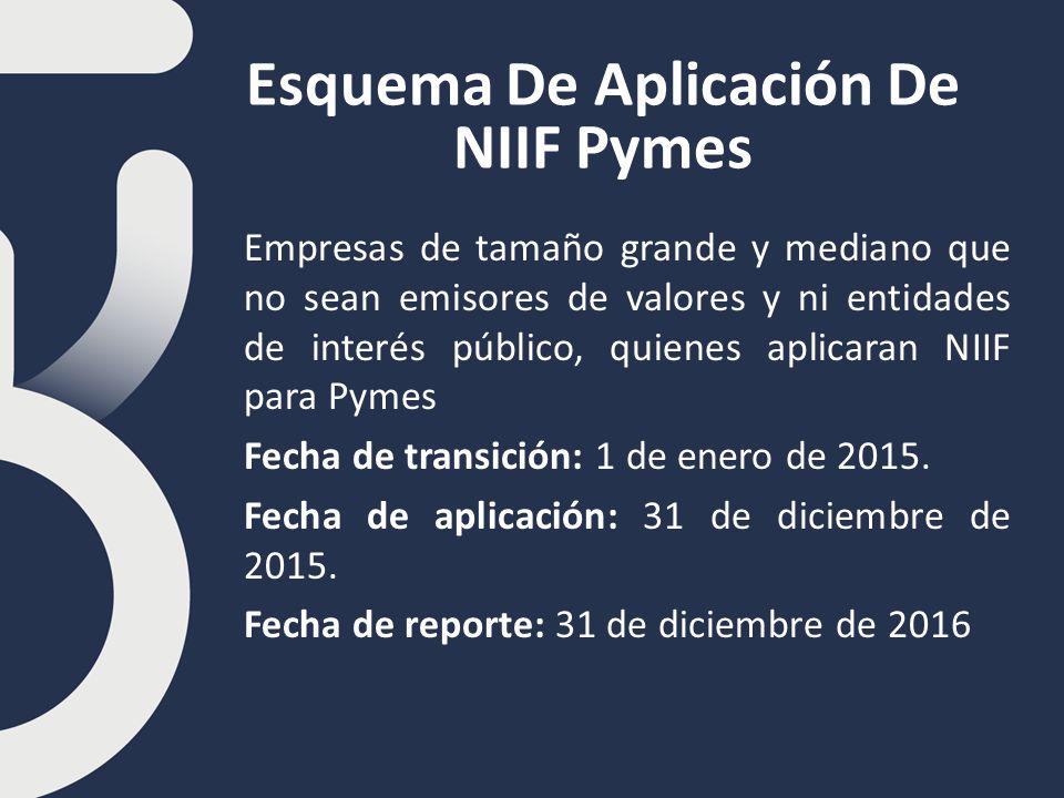 Esquema De Aplicación De NIIF Pymes Empresas de tamaño grande y mediano que no sean emisores de valores y ni entidades de interés público, quienes aplicaran NIIF para Pymes Fecha de transición: 1 de enero de 2015.