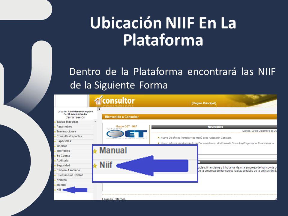 Ubicación NIIF En La Plataforma Dentro de la Plataforma encontrará las NIIF de la Siguiente Forma