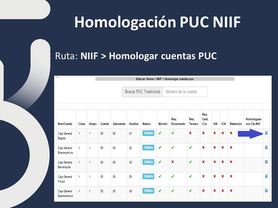 Homologación PUC NIIF Ruta: NIIF > Homologar cuentas PUC
