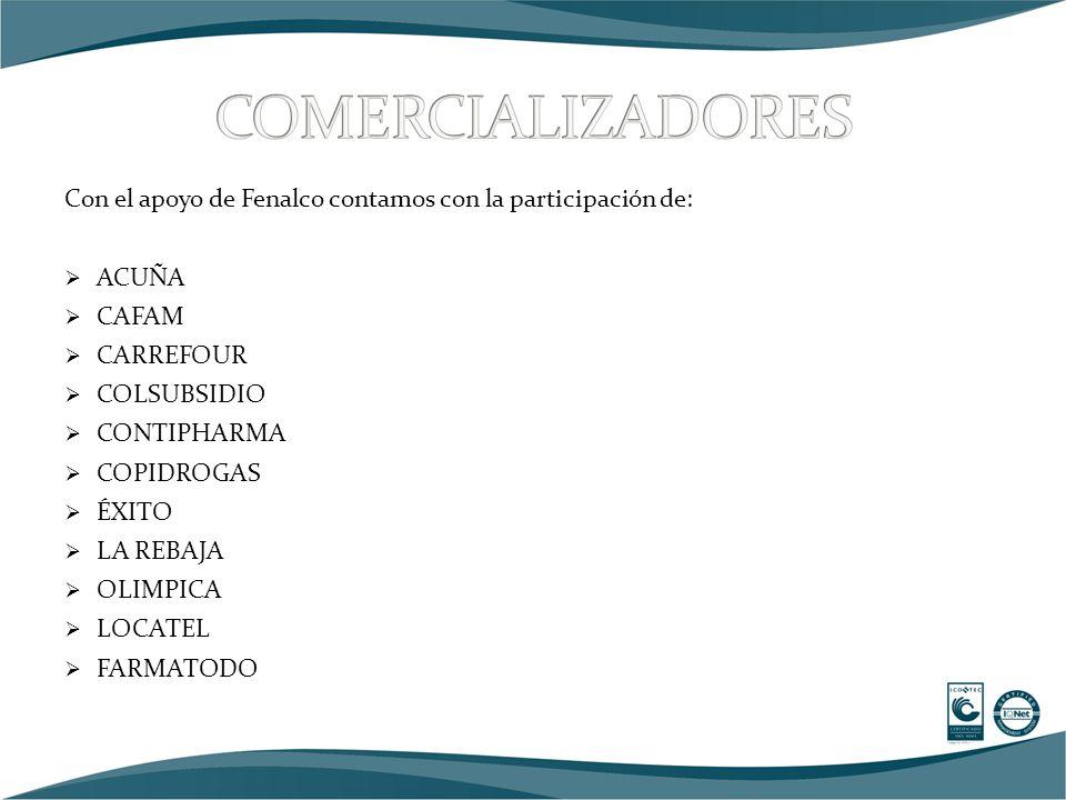 Con el apoyo de Fenalco contamos con la participación de:  ACUÑA  CAFAM  CARREFOUR  COLSUBSIDIO  CONTIPHARMA  COPIDROGAS  ÉXITO  LA REBAJA  OLIMPICA  LOCATEL  FARMATODO