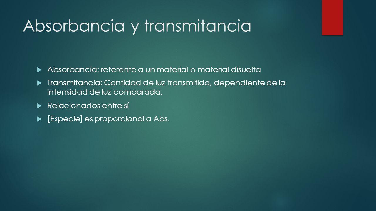Absorbancia y transmitancia  Absorbancia: referente a un material o material disuelta  Transmitancia: Cantidad de luz transmitida, dependiente de la intensidad de luz comparada.