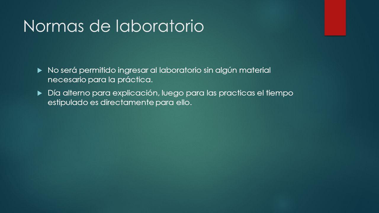 Normas de laboratorio  No será permitido ingresar al laboratorio sin algún material necesario para la práctica.