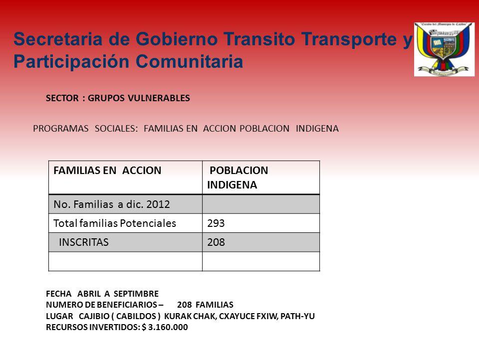 SECTOR : GRUPOS VULNERABLES FECHA ABRIL A SEPTIMBRE NUMERO DE BENEFICIARIOS – 208 FAMILIAS LUGAR CAJIBIO ( CABILDOS ) KURAK CHAK, CXAYUCE FXIW, PATH-YU RECURSOS INVERTIDOS: $ 3.160.000 FAMILIAS EN ACCION POBLACION INDIGENA No.