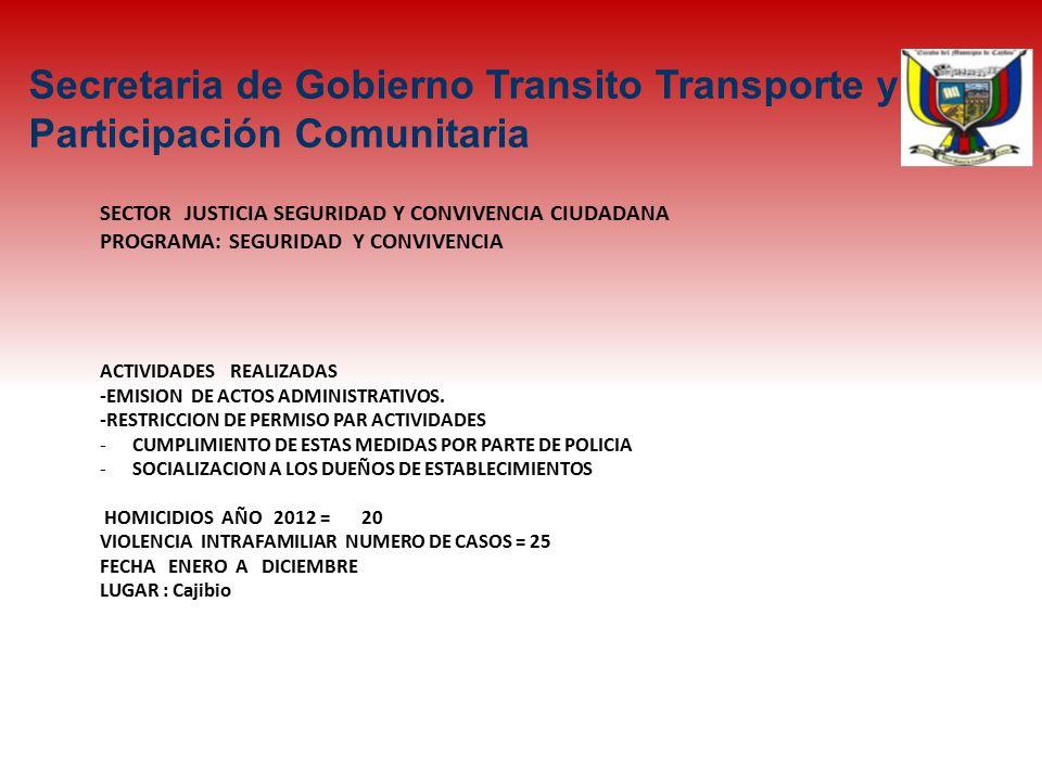 SECTOR JUSTICIA SEGURIDAD Y CONVIVENCIA CIUDADANA PROGRAMA: SEGURIDAD Y CONVIVENCIA ACTIVIDADES REALIZADAS -EMISION DE ACTOS ADMINISTRATIVOS.