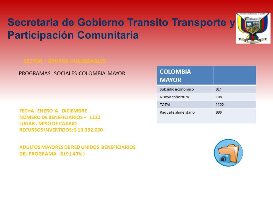 PROGRAMAS SOCIALES:COLOMBIA MAYOR SECTOR : GRUPOS VULNERABLES FECHA ENERO A DICIEMBRE NUMERO DE BENEFICIARIOS – 1222 LUGAR.