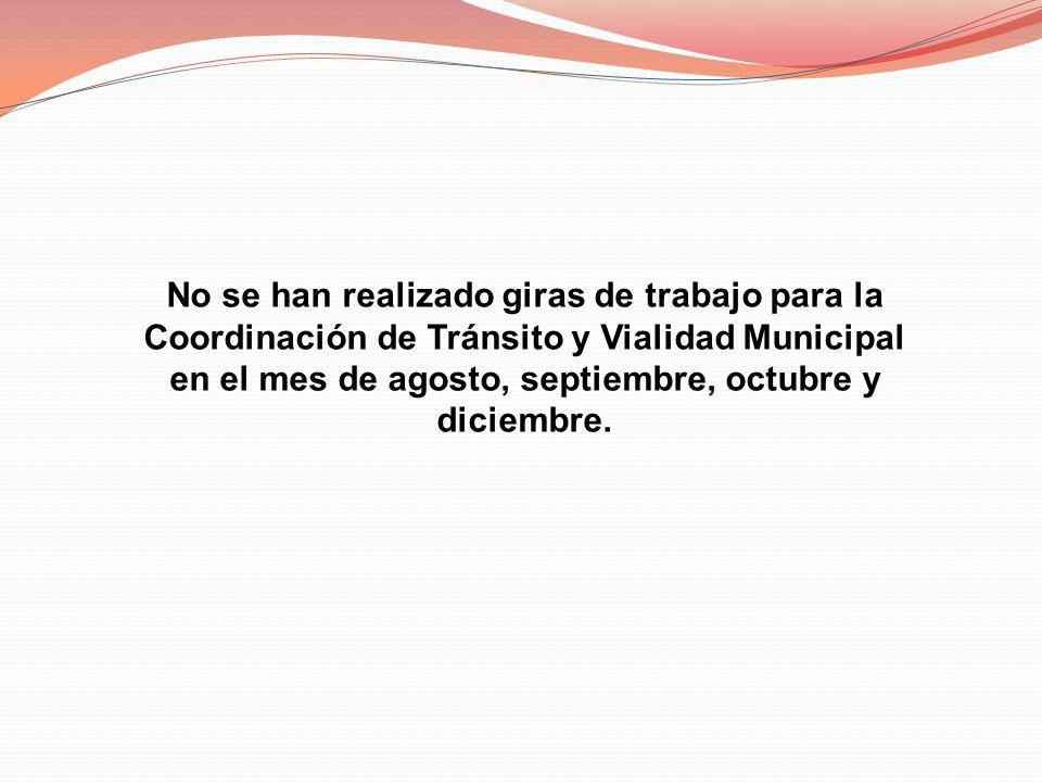 No se han realizado giras de trabajo para la Coordinación de Tránsito y Vialidad Municipal en el mes de agosto, septiembre, octubre y diciembre.