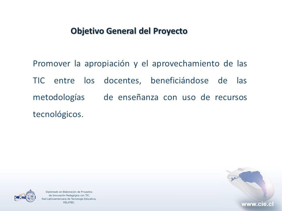 www.cie.cl Objetivo General del Proyecto Promover la apropiación y el aprovechamiento de las TIC entre los docentes, beneficiándose de las metodologías de enseñanza con uso de recursos tecnológicos.
