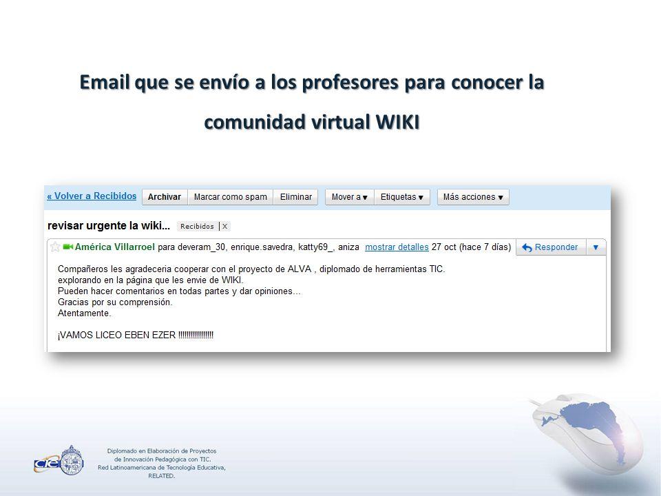 Email que se envío a los profesores para conocer la comunidad virtual WIKI