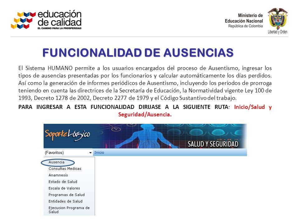 FUNCIONALIDAD DE AUSENCIAS