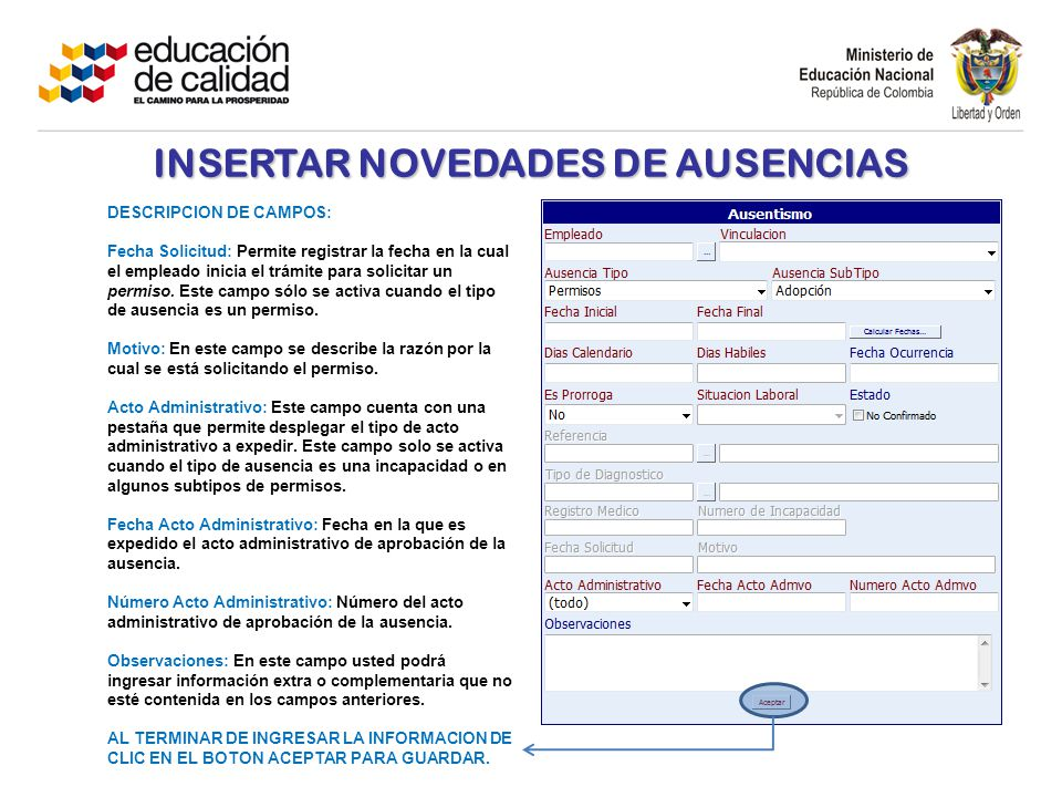 INSERTAR NOVEDADES DE AUSENCIAS DESCRIPCION DE CAMPOS: Fecha Solicitud: Permite registrar la fecha en la cual el empleado inicia el trámite para solicitar un permiso.