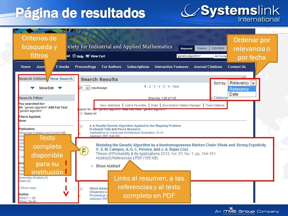 Ordenar por relevancia o por fecha Criterios de búsqueda y filtros Links al resumen, a las referencias y al texto completo en PDF Texto completo disponible para su institución