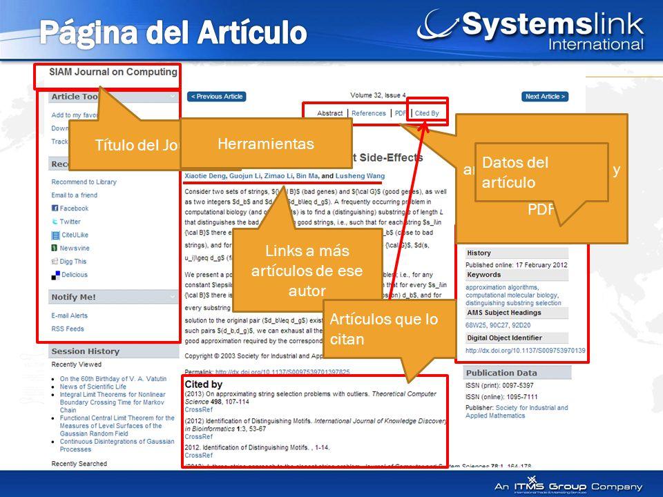 Link a referencias, artículos que lo citan y texto completo en PDF Datos del artículo Links a más artículos de ese autor Título del Journal Herramientas Artículos que lo citan