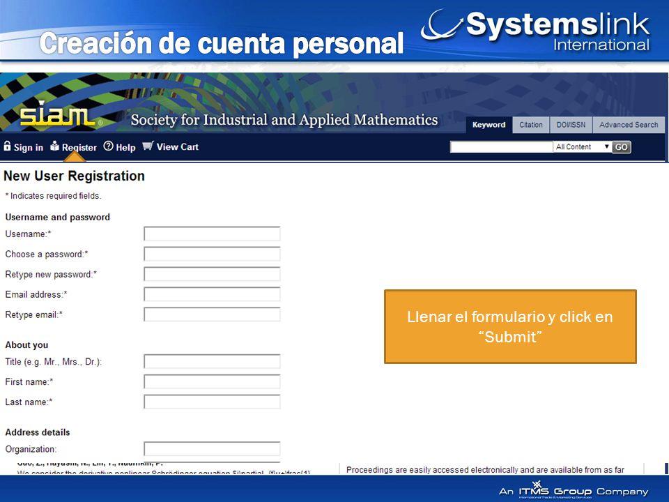 Llenar el formulario y click en Submit